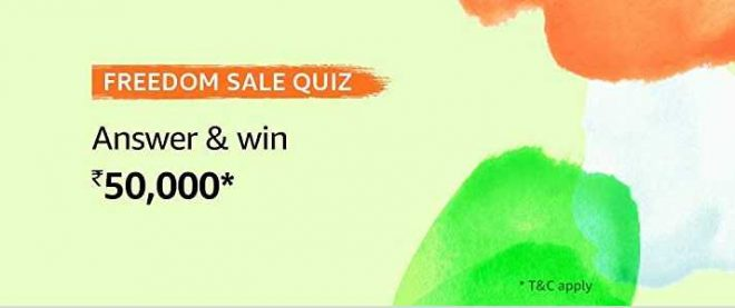 Amazon Freedom Sale Quiz Answers 5 August 2019 Win Rs 50000
